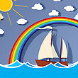 Sailboat Floats On The Sea Under A A Clear Sky With Rainbow Sun And Floating Clouds