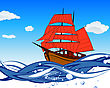 Rush Sailboat With Scarlet Sail In A Waves. EPS 8 Vector Illustration. stock illustration
