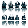 Sailing Ship Silhouettes Collection stock illustration