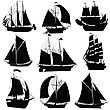 Sailing Ships Silhouettes Collection, Isolated Objects stock illustration