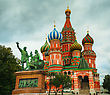 Saint Basil's Cathedral In Moscow, Russia In The Evening stock image