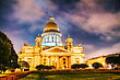 Saint Isaac's Cathedral (Isaakievskiy Sobor) In Saint Petersburg, Russia In The Night stock image