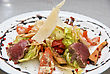Salad With Roast Beef, Chinese Cabbage, Parmesan Cheese, Courgette, Pepper And Tomato stock photography
