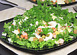 Salad With Shrimps, Dried Crust, Green Peas And Leaf Of Lettuce. Isolated stock photo