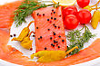 Salmon Fillet With Lemon, Dill, Pepper On Plate