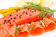 Fishfood Salmon Fillet With Lemon, Dill, Pepper On Plate stock image