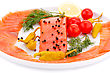 Salmon Fillet With Lemon, Dill, Pepper On Plate Isolated On White Background stock photography