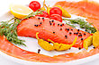 Salmon Fillet With Lemon, Dill, Pepper, Tomatoes On Plate