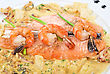 Preparation Salmon Fish And Seafood Tasty Gourmet Dish Closeup stock photo