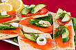 Salmon Sandwiches With Lettuce, Cucumber, Onion, Lemon On Plate stock photography