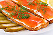 Salmon Sandwiches With Pickled Cucumber And Lemon On Plate Closeup Image stock image