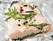 Salmon Steak Baked In Foil Paper stock photo