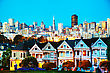 Victorian San Francisco Cityscape With The Painted Ladies As Seen From Alamo Square Park stock image