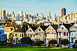 San Francisco Cityscape With The Painted Ladies As Seen From Alamo Square Park stock photography