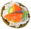 Sandwich Of Rye Bread With Cream, Cucumber, Dill And Salmon Isolated On White Background From Above