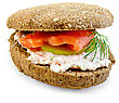 Sandwich Of Rye Bun With Cream, Cucumber, Dill And Salmon Isolated On White Background stock photo