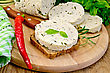 Sandwich On A Slice Of Rye Bread With Homemade Cheese, Basil, Knife, Napkin, Parsley, Hot Red Pepper On A Wooden Boards Background