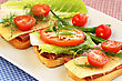 Sandwiches With Bacon, Cheese, Cherry Tomato And Dill On Plate stock photography