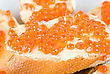 Sandwiches Caviar At Plate Close Up stock photography
