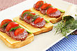Sandwiches With Salami, Cheese, Cherry Tomato And Dill On Plate