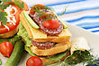 Wheat Sandwiches With Salami, Cheese, Cherry Tomato And Herbs On Plate stock photo