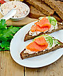 Sandwiches On Two Pieces Of Rye Bread With Cream, Dill, Cucumber And Salmon In The Oval Plate On The Background Of Wooden Boards