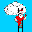 Santa Claus Coming Up The Stairs To Cloud stock illustration