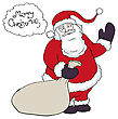 Santa Claus With A Sack Of Gifts Congratulations Says In Baloon. Vector Illustration, Eps8