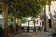Scenic Patio Of The Small Spanish Countryhouse. Near The Monastery De Poblet In Spain stock photography