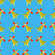 School Bell Seamless Pattern On Blue Background