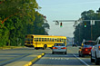 School Bus Turning Corner stock photography