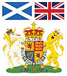 Scottish Royal Coat Of Arms With Flags Of Scotland And Great Britain