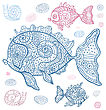 Sea set of fish and snails. Hand drawn vector illustration.