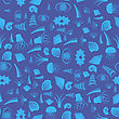 Sea Shell Silhouette Seamless Pattern On Blue. Jellyfish Background