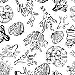 Sea Shells And Corals Seamless Background. Black And White Seamless Pattern For Coloring Book, Textile, Print, Wallpaper. Sea Life Pattern