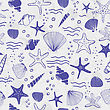 Sea Shells, Seastars And Corals Seamless Background. Blue Colors Seamless Pattern For Coloring Book, Textile, Print, Wallpaper. Sea Life Pattern