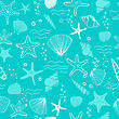 Sea Shells, Seastars And Corals Seamless Background. Blue And White Seamless Pattern For Coloring Book, Textile, Print, Wallpaper. Sea Life Pattern