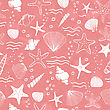Sea Shells, Seastars And Corals Seamless Background. Pink Seamless Pattern For Coloring Book, Textile, Print, Wallpaper. Sea Life Pattern