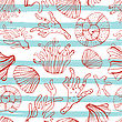 Sea Shells, Seastars And Corals Seamless Background. Blue, Red And White Seamless Pattern For Coloring Book, Textile, Print, Wallpaper. Sea Life Pattern