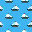 Sea Ships Silhouettes Seamless Pattern. Sailing Boat Background