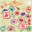 Sea And Tropical Elements - Rubber Stamps Collection stock illustration