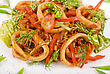 Asian Food  Seafood Salad With Squid And Vefetables Closeup stock image