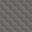 Seamless Abstract Background Of 3d Shapes With Realistic Shadow And Cut Out Of Paper Effect. Modern 3D Texture.Geometrical Ornament With Diagonal Green And Purple Wavy Lines