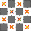 Seamless Abstract Background Of White 3d Shapes With Realistic Shadow And Cut Out Of Paper Effect. Geometrical Ornament With Gray Squares And Orange Flower stock vector