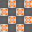 Seamless Abstract Background Of White 3d Shapes With Realistic Shadow And Cut Out Of Paper Effect. Geometrical Arabian Ornament With Slim Wire And Orange stock vector