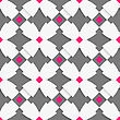 Seamless Abstract Background Of White 3d Shapes With Realistic Shadow And Cut Out Of Paper Effect. White Geometrical Ornament With White Crosses And Pink Squares On Gray