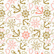 Seamless Abstract Marine Pattern. Sea Anchors, Rope And Wheels. Nautical Summer Hipster Background. Design For Paper, Wallpaper, Textile, Fabric, And Other Progects. Vintage Pastel Colored Vector Patt