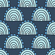 Seamless Abstract Wave And Clouds Hand Drawn Pattern. Vector Pattern In Blue Colors stock illustration