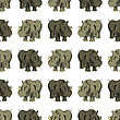 Seamless African Rhinoceros Background. Animal Pattern