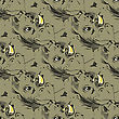 Seamless African Rhinoceros Background. Animal Rhino Pattern